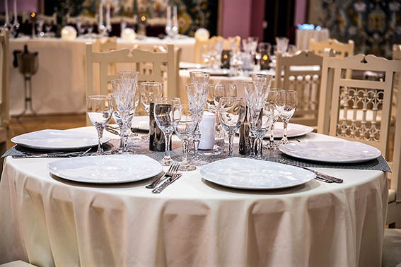 Reception decoration table silver cutlery crystal glasses luxury wedding hall barin events glyfada elliniko regions
