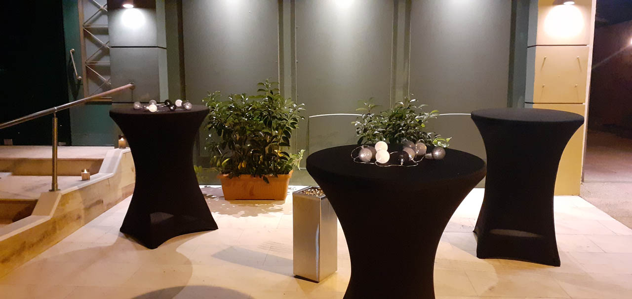 Smokers free area outdoor stools at wedding and baptism reception halls athens barin events